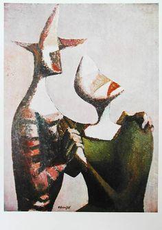 František Tichý - Romance (1948) #painting  #art #Czechia Abstract Paintings, Painting Art, Abstract Art, Smart Art, Watercolor Portraits, Sketchbooks, Surrealism, Romance, Lovers