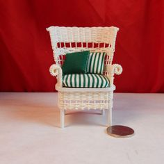 Dollhouse Wicker Chair - Artist Signed Wicker Chair Circa 1970's - Doll House Real Wicker Chair - 1/12th Scale by Louisianaminis on Etsy https://www.etsy.com/listing/210593955/dollhouse-wicker-chair-artist-signed