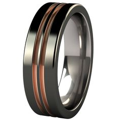 Equinox - Black & Colored titanium ring - Many of our classic bands are customizable - add an inset or tension set gemstone, or create your own color combination from a variety of finishes and vibrant anodized colors