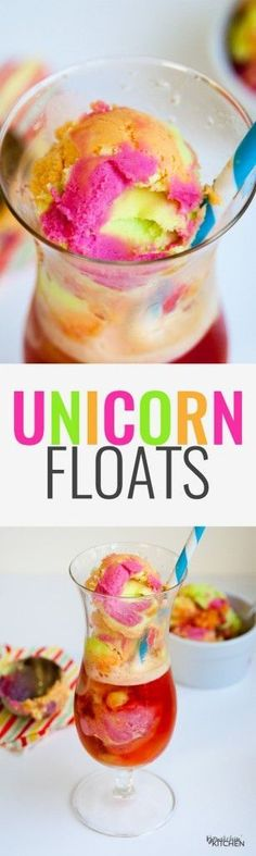 Floats Unicorn Floats - This Unicorn Float recipe is the perfect kids dessert. I love how colorful it is and that' it's an easy dessert! The unicorn poop trend is fun for kids of all ages! Brownie Desserts, Oreo Dessert, Mini Desserts, Easy Desserts, Delicious Desserts, Dessert Recipes, Yummy Food, German Desserts, Baking Desserts