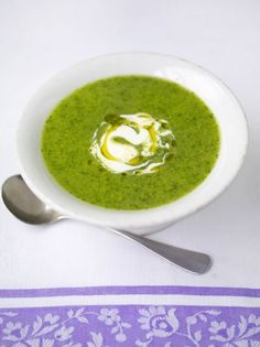 This watercress and pea soup is ideal for a hot summer day as it is refreshing, light and delicious; the watercress adds a beautiful peppery bite.