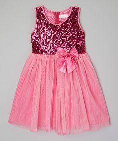 Hot Pink Shimmer Bow Dress - Toddler #zulily *cute