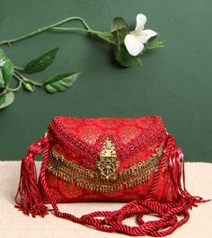 5 Elements By Radhika Gupta – Red Embellished Brocade Clutch Click on the photo to shop this clutch! :) Indian Accessories, 5 Elements, Bridal Clutch, Beautiful Handbags, Party Bags, Captain Hat, Valentines, Purses, Clutches