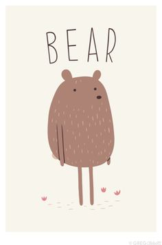 Bear illustration ♥ for nursery or kid's bedroom