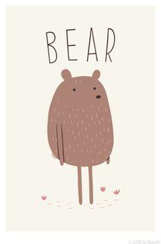 Bear illustration ♥ for nursery or kid's bedroom