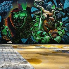 by Saturno in Barcelona, (LP) 3d Street Art, Street Art Graffiti, Graffiti Pictures, Street Painting, Graffiti Characters, Mural Art, Body Art Tattoos, Art Forms, Illusions