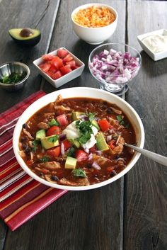 Chicken Tortilla Soup.  made this almost exactly as written (a rarity for me).  Did not use a red pepper but added two seeded and chopped jalapeños instead, and only used one can of black beans rather than two.  Loved it!