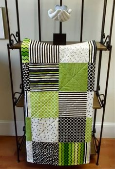 baby quilt - circles, dots, stripes, and zigzags - great for infant visual stimulation!