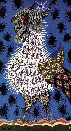 ¤ Jean Lurçat - Tapisserie blues scarlet     Scans source: Jean Lurcat - Tapisseries. Six reproductions en couleurs - Pierre Vorms, éditeur a Belvès, Dordogne, 1959. (portfolio with six colour plates).    .