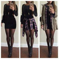 Black bodycon dress + plaid shirt + olive jacket