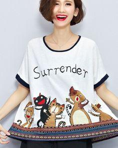 Funny cat t shirt for girls white surrender t shirts oversize design
