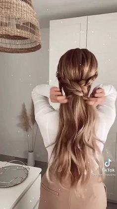Easy Hairstyles For Long Hair, Cute Hairstyles, Braided Hairstyles, Hairstyle Ideas, Braided Ponytail, Hairstyles For Picture Day, Braids Long Hair, Hairstyles For Medium Length Hair, Hairdo For Long Hair
