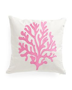 20x20 Embroidered Sea Coral Pillow