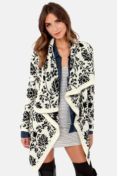 Take Leaf Black and Ivory Floral Print Cardigan Sweater at LuLus.com!