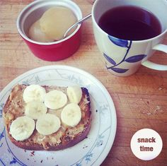 A yummy mid afternoon snack idea:  2 canned pears (tastes like candy melting in your mouth!)  1 piece of toast with penut butter, honey and banana  1 cup of mixed berry tea
