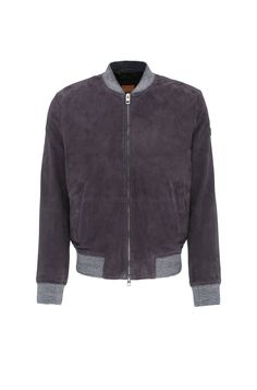 Slim-fit leather jacket in bomber jacket style with knitted cuffs: 'Jacket'