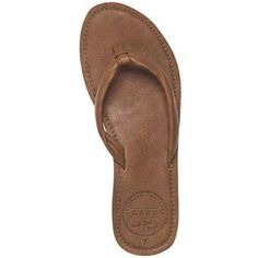 Reef Women's Reef Creamy Leather Sandal ($50) ❤ liked on Polyvore featuring shoes, sandals, tobacco, leather sandals, arch support sandals, reef footwear, reef sandals and leather shoes