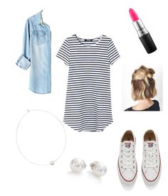 """""""striped right"""" by lexielaux on Polyvore featuring Converse, Mikimoto, MAC Cosmetics and Shop Latitude Bazaar"""