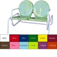 $100 Love this two-seater! In Lime! Or any type of vintage two-seated metal glider.
