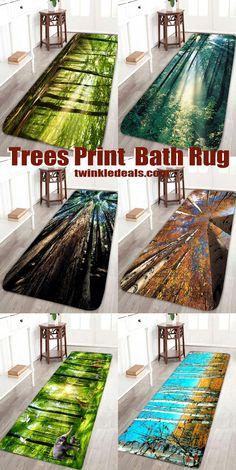 Trees Print Bath Rug