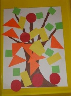 For claire Fall geo trees. This would make a fun math center where kids could count each shape they used. They'd practice counting, shape recognition and writing the number - love it! Fall Preschool, Preschool Activities, September Preschool, Tree Study, Creative Curriculum, Fall Crafts For Kids, Kids Crafts, Tree Crafts, Fall Toddler Crafts