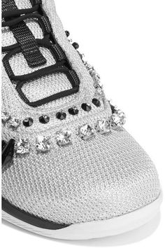 Prada - Crystal-embellished Mesh Sneakers - SALE20 at Checkout for an extra 20% off