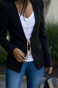 casual outfit w blazer, jeans, white t-shirt High Street Fashion, Fashion Mode, Work Fashion, Womens Fashion, Style Fashion, Fashion Ideas, Fashion Trends, Swag Fashion, Fashion Clothes