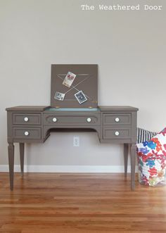 A taupe writing desk