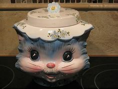 SOOOOOO CUTE!!!! Vintage Whimsical Lefton MISS PRISS Kitty Cat Kitten Cookie Jar Blue Floral 1502