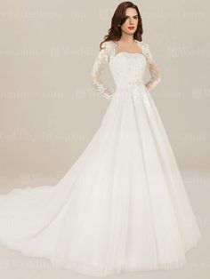 A-line wedding dress with long sleeves features beaded lace bodice to give it that perfect amount of sparkle. Matching lace appliques decorate the sleeves. The waist is adorned with a detachable belt with delicate beaded accents. A keyhole design at the back shows alluring to this amazing wedding dress.