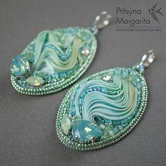 Shibori ribbon earrings Mint shibori ribbon