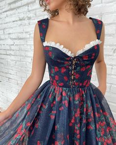 "Teuta Matoshi's Instagram photo: ""🍒🍒🍒#teutamatoshi #teutamatoshiduriqi"" Starry Night Dress, Queen Anne Neckline, Rose Gown, Drape Gowns, Cherry Dress, Fantasy Gowns, Salmon Dress, Dress Shapes, Embroidery Dress"