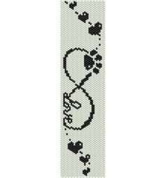 Love infinity sign, paw print, love dogs, Beading PATTERNS (even count PEYOTE and LOOM patterns for bracelet, cuff or bookmark) Peyote Beading Patterns, Peyote Stitch Patterns, Seed Bead Patterns, Loom Beading, Bead Loom Bracelets, Beaded Bookmarks, Cross Stitch Bookmarks, Macrame Bracelets, Embroidery Stitches