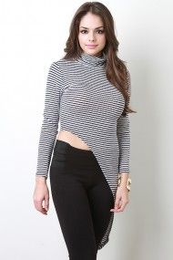 This top features a contrasting horizontal knit pattern, turtle neckline, long sleeves, and a diagonal hemline. Flatform Sneakers, Velvet Slip Dress, Flat Gladiator Sandals, Bebe Rexha, Looking Stunning, Knit Patterns, Hemline, Cool Style, Beautiful Women