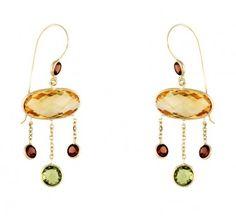 Yellow Gold Earrings With Gemstones Citrine Garnet Peridot Swarovski Crystal Earrings, Gemstone Earrings, Women's Earrings, Garnet Gemstone, Gold Chandelier Earrings, Wholesale Diamonds, Vintage Diamond Rings, Designer Earrings, Fine Jewelry