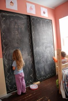 Chalkboard paint on closet or sliding doors