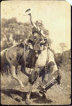Little Cowgirl by trailerfullofpix, ****this could have been a photo of me. The way I liked my horses. Photos Vintage, Antique Photos, Vintage Photographs, Little Cowgirl, Cowgirl And Horse, Riding Cowgirl, Old West, Old Pictures, Old Photos
