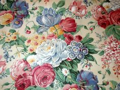 Vintage 1980s Floral Fabric Decorator Di by SweetRepeatVintage, $5.00
