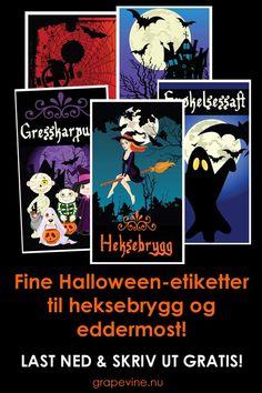 Fine Halloween-etiketter til heksebrygg og eddermost!