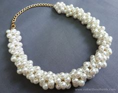 "DIY J.Crew-Inspired Pearl Necklace - nice example of ""beaded beads""  with chain. #Seed #Bead #Tutorial"