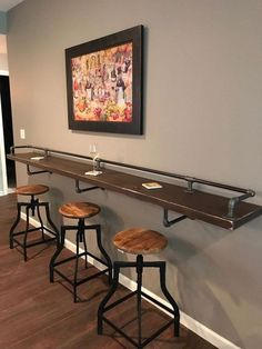 """Industrial Black Pipe Drink/Bar Rail with 3 Shelf Support Brackets """"DIY"""" Parts Kit - Use Your Own Wood Top -Sale Ending Soon! Industrial Black Pipe Drink Rail With Shelf Support Brackets DIY hardware parts kit **Wood top is n Basement Makeover, Basement Renovations, Cheap Basement Remodel, Drink Bar, Shelf Support Brackets, Shelf Supports, Pool Table Room, Pool Table Games, Dining Room Bar"""