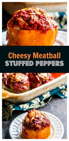 Cheesy Meatball Stuffed Peppers - huge mozzarella filled meatballs stuffed into sweet bell peppers. Easy, tasty dinner!