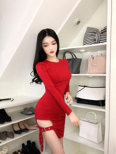 Korean fashion(&Japanese) V-neck knit nine points sleeve dr Casual Summer Dresses, Sexy Dresses, Fashion Dresses, Long Sleeve Mini Dress, Beautiful Asian Women, Asian Fashion, Ski Fashion, High Fashion, Asian Woman