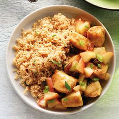 Chicken and Red Apple Curry with Almond Couscous
