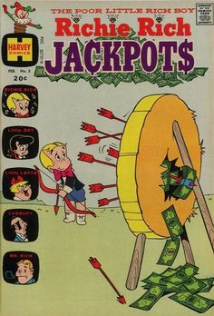 Cover for Richie Rich Jackpots series) Old Comic Books, Vintage Comic Books, Vintage Comics, Classic Comics, Classic Cartoons, Old Comics, Funny Comics, Richie Rich Comics, Comic Book Publishers