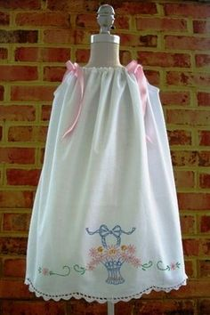 A dress made from a vintage embroidered pillowcase