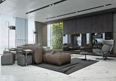 The first apartment is highlighted by a chocolatey brown leather sofa.
