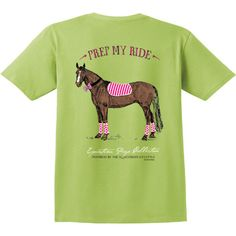 """Stirrups Equestrian Prep Collection Tees are printed on Comfort Colors pocket tees that are 100% ring spun cotton. """"Prep My Ride"""" in Kiwi Green."""
