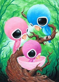 Sugar Fueled Lovebirds Blue Pink Purple Birds Animal Cotton Candy Pop Surrealism Surreal Lowbrow creepy cute big eyes eye art print
