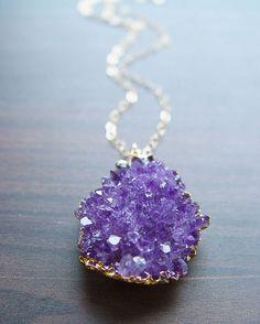 Lavender amethyst druzy necklace - 14 karat gold pendant  etsy.com $79